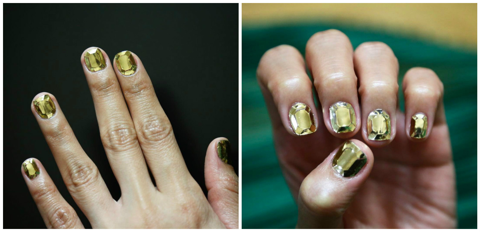 Битое стекло на ногтях педикюр