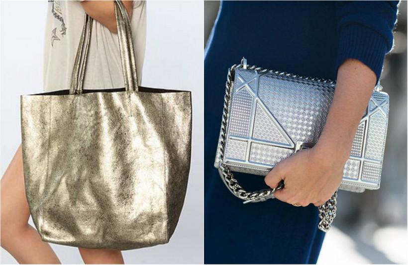 сумки с эффектом металлик