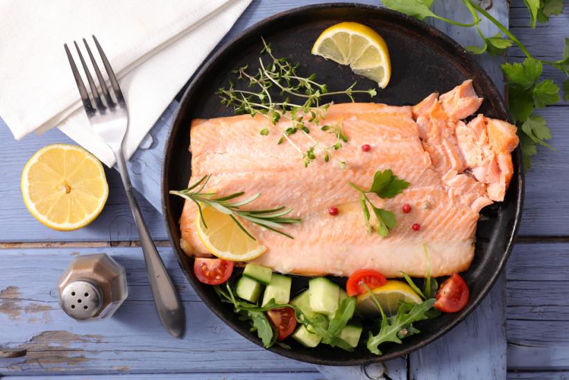 лосось и овощи