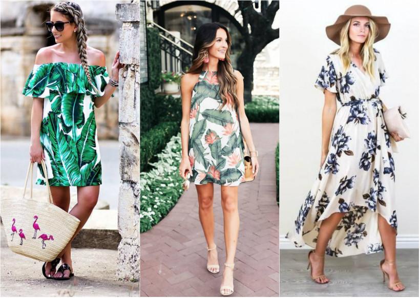 платья с тропическим принтом