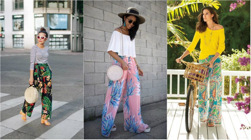 Летние брюки с тропическим принтом