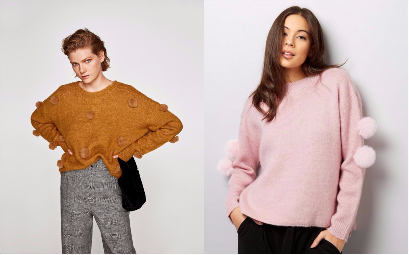 свитер с помпонами
