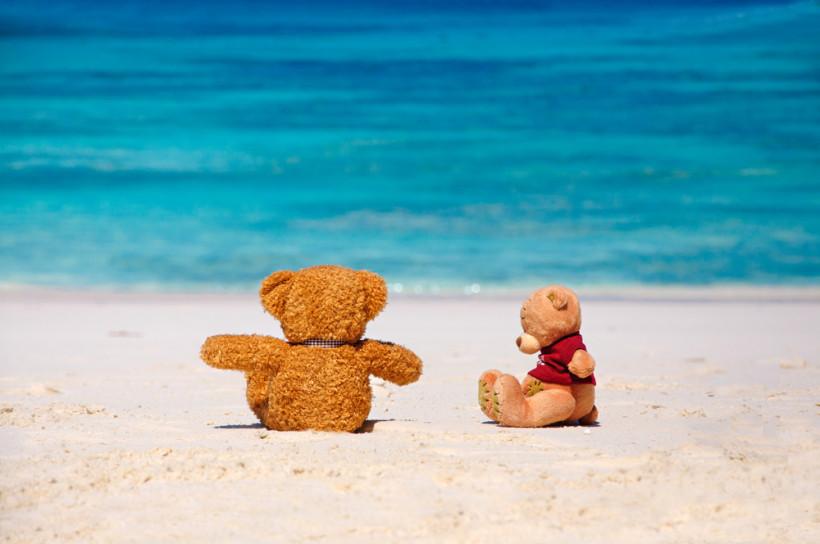 Игрушки на фоне моря