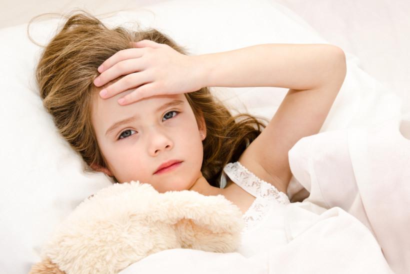 Девочка в постели с головной болью