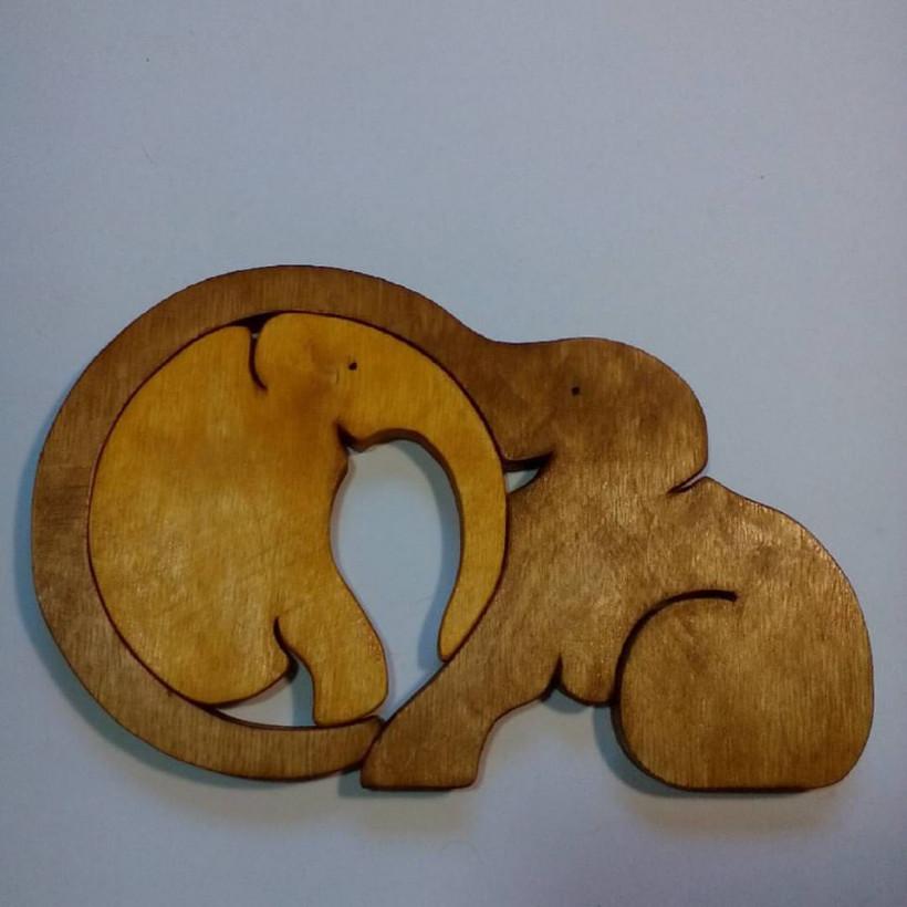 Слониха и слоненок - пазл