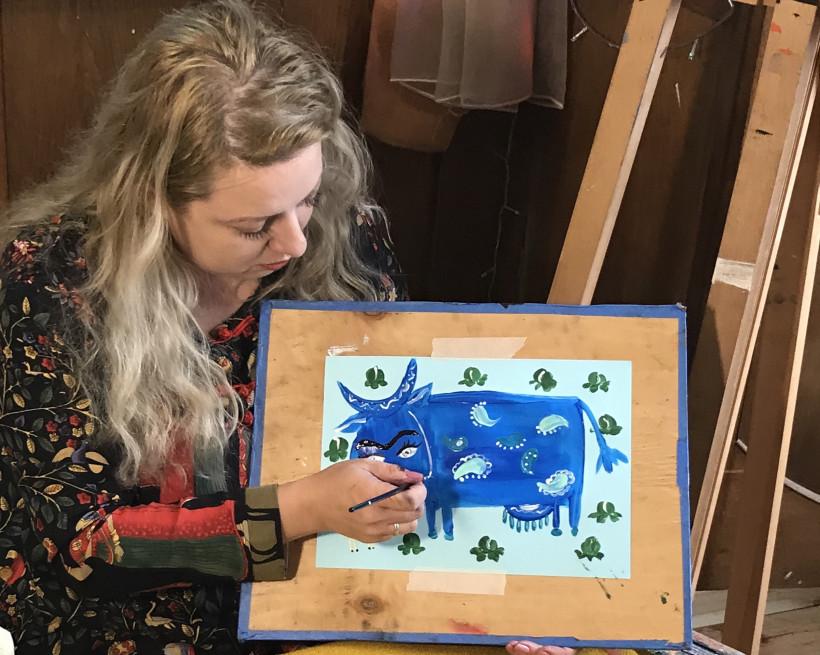 Урок рисования - рисуем корову акриловыми красками