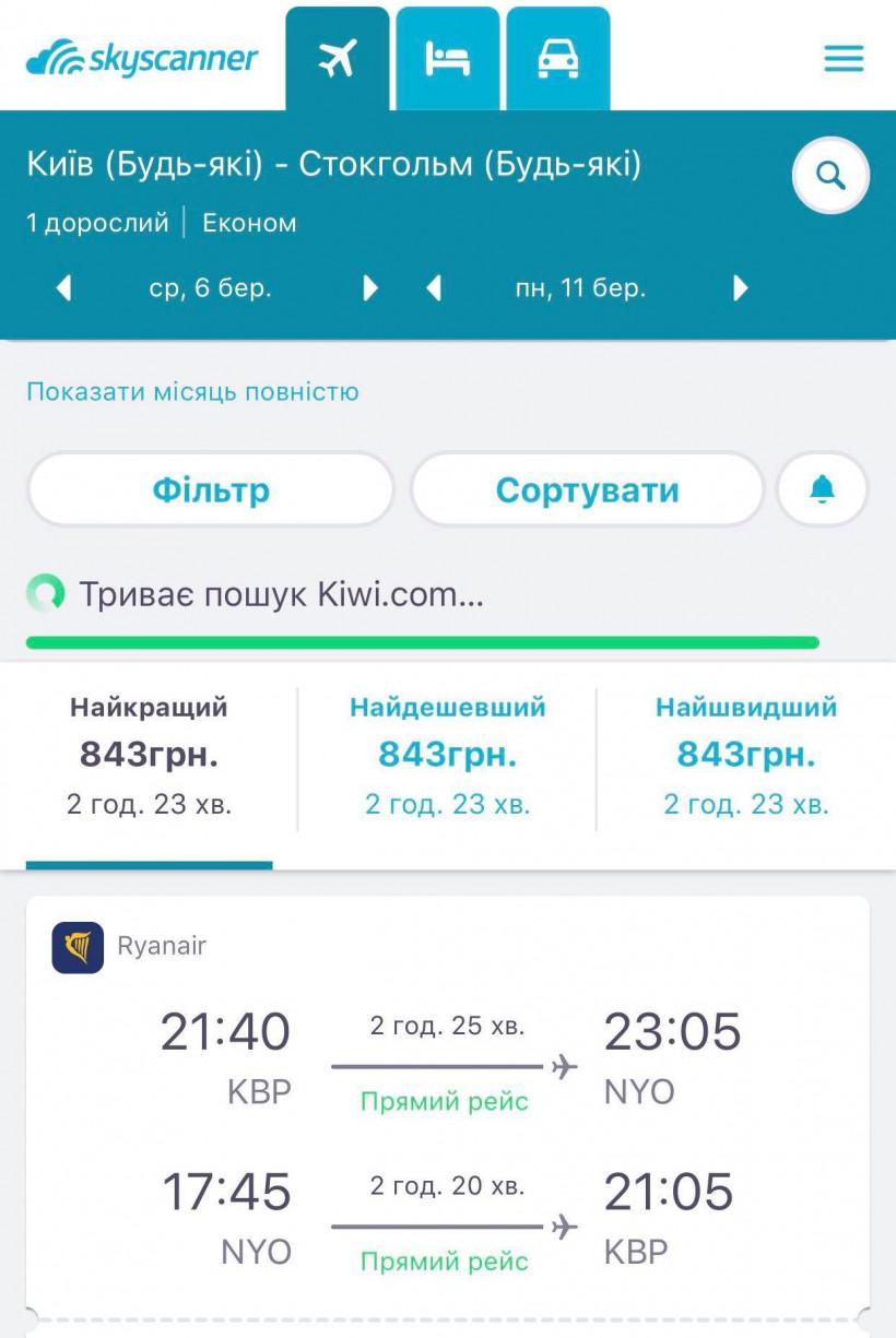 Перелет Киев Стокгольм