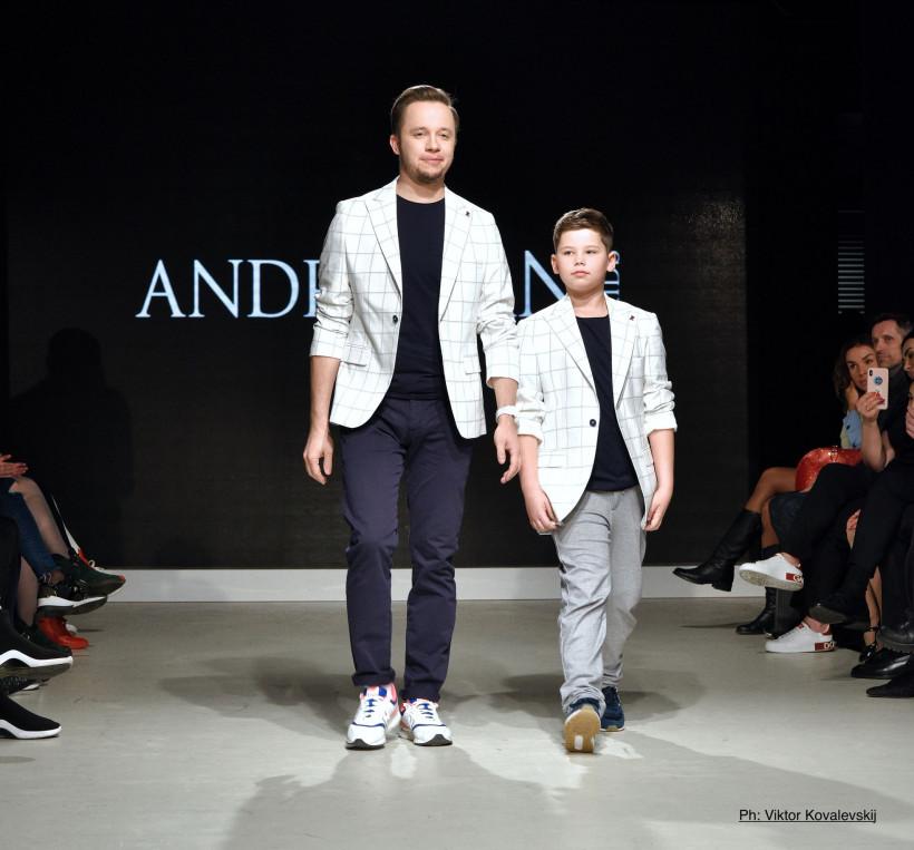 Артем Гагарін з сином на показі Андре Тана