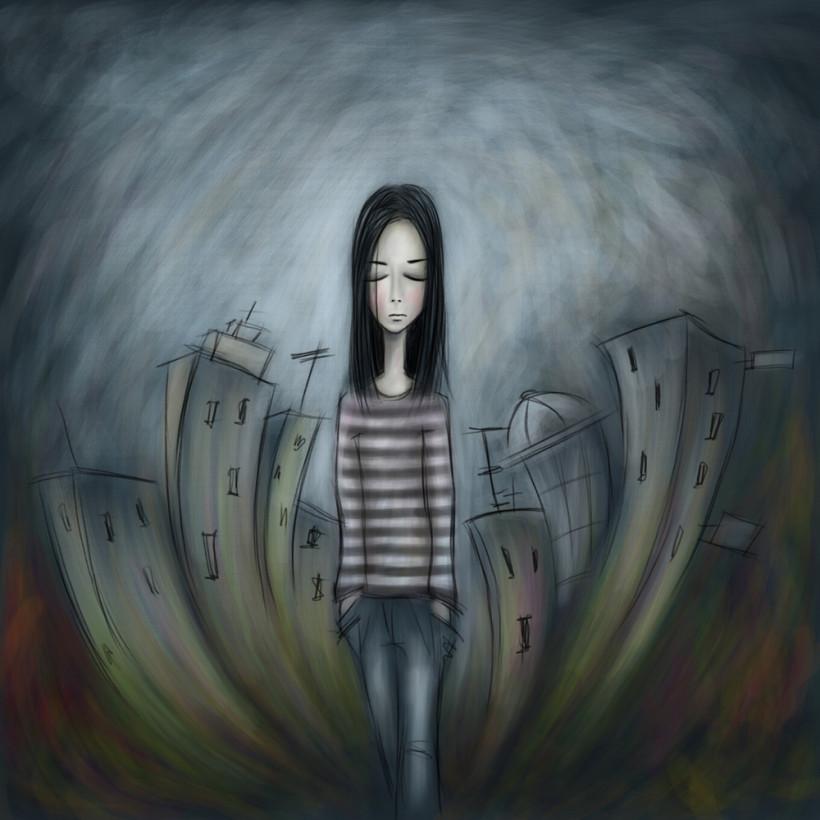 Подросток одинок и в депрессии - рисунок девушки