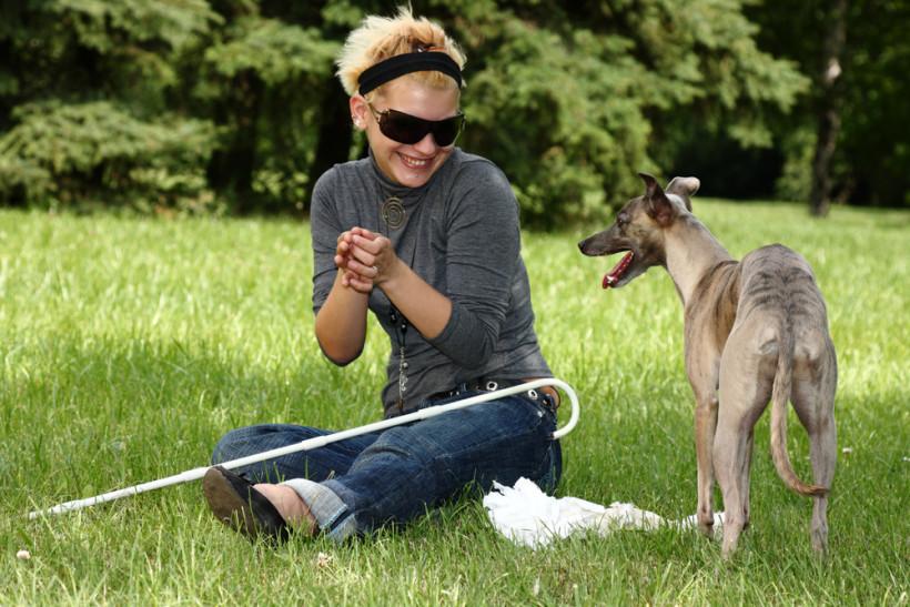 Незрячая девушка с собакой - инклюзия