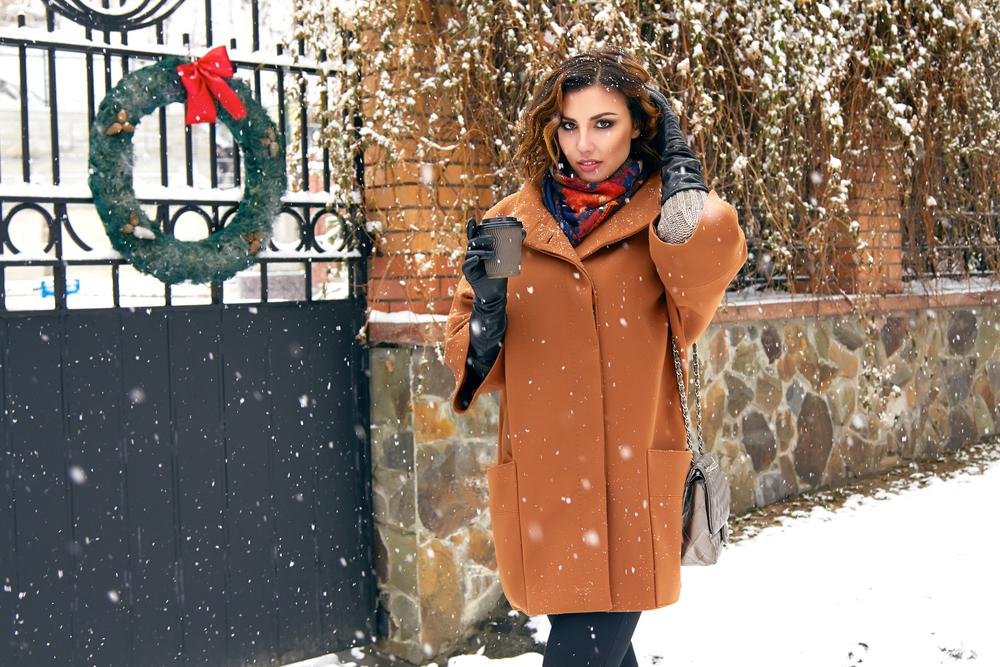 Девушки в пальто зимой фото